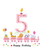 First birthday baby greeting card. Happy first birthday candle and animals first birthday