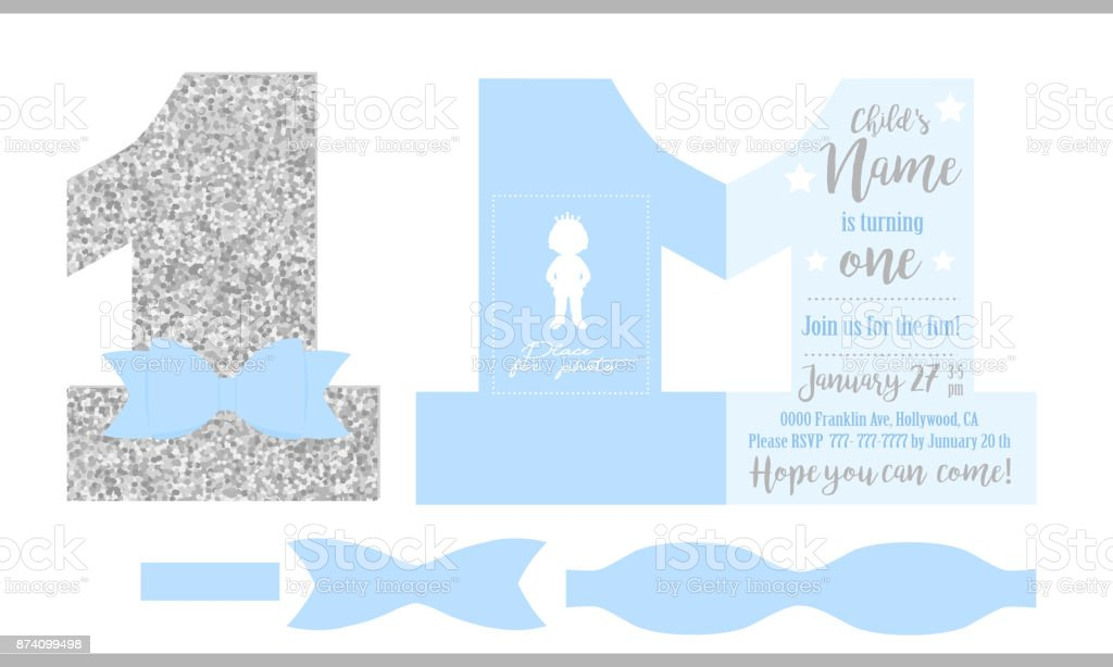 printable invitation card for little prince silver glitter and blue - Printable Invitation Card Stock