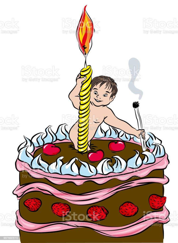 İlk doğum günü pastası. vektör sanat illüstrasyonu