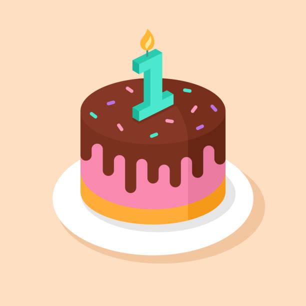 ilustracja wektorowa pierwszego tortu urodzinowego - ciasto stock illustrations