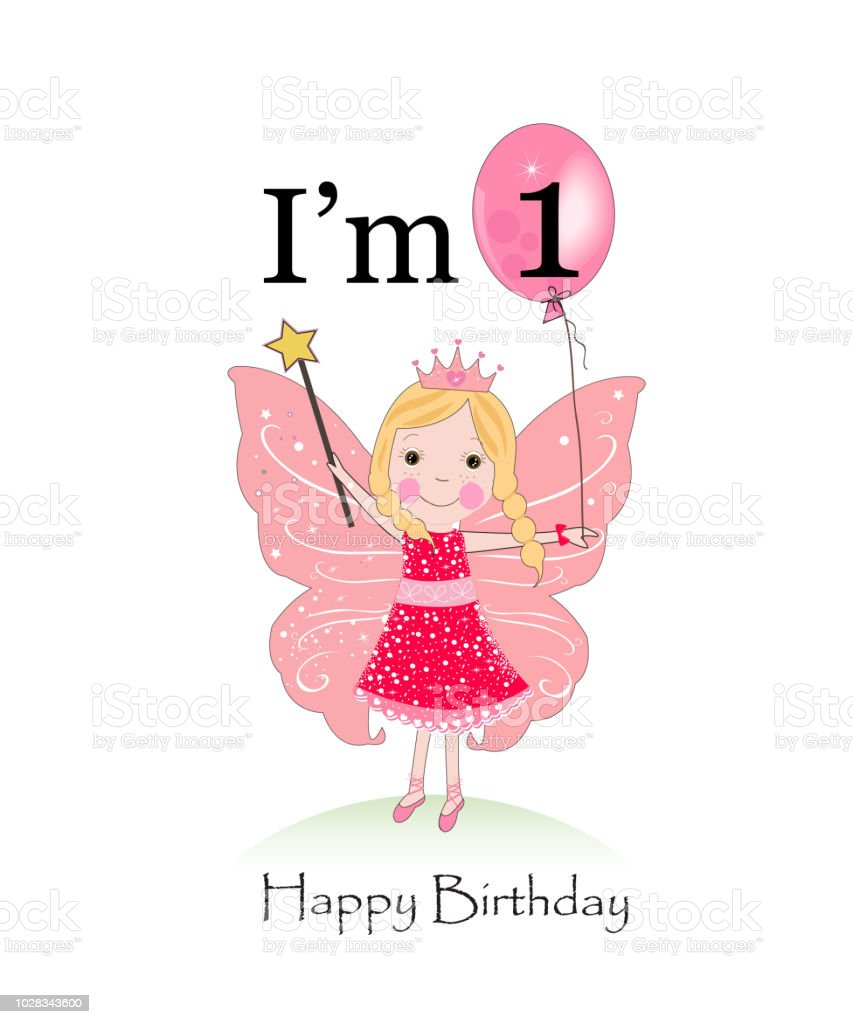 First Birthday Cute Fairy Fairy Birthday Greeting Card Im One Years
