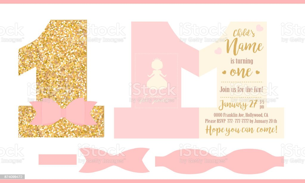 First birthday girl party printable invitation card for little first birthday girl party printable invitation card for little princess gold glitter and pink filmwisefo