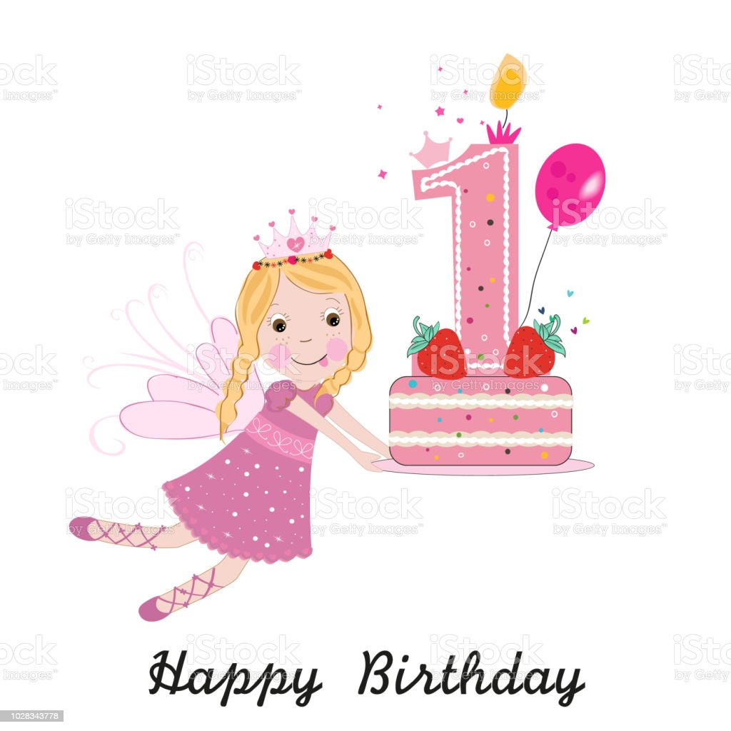 First Birthday Greeting Card Cute Fairy Holding Cake Vector