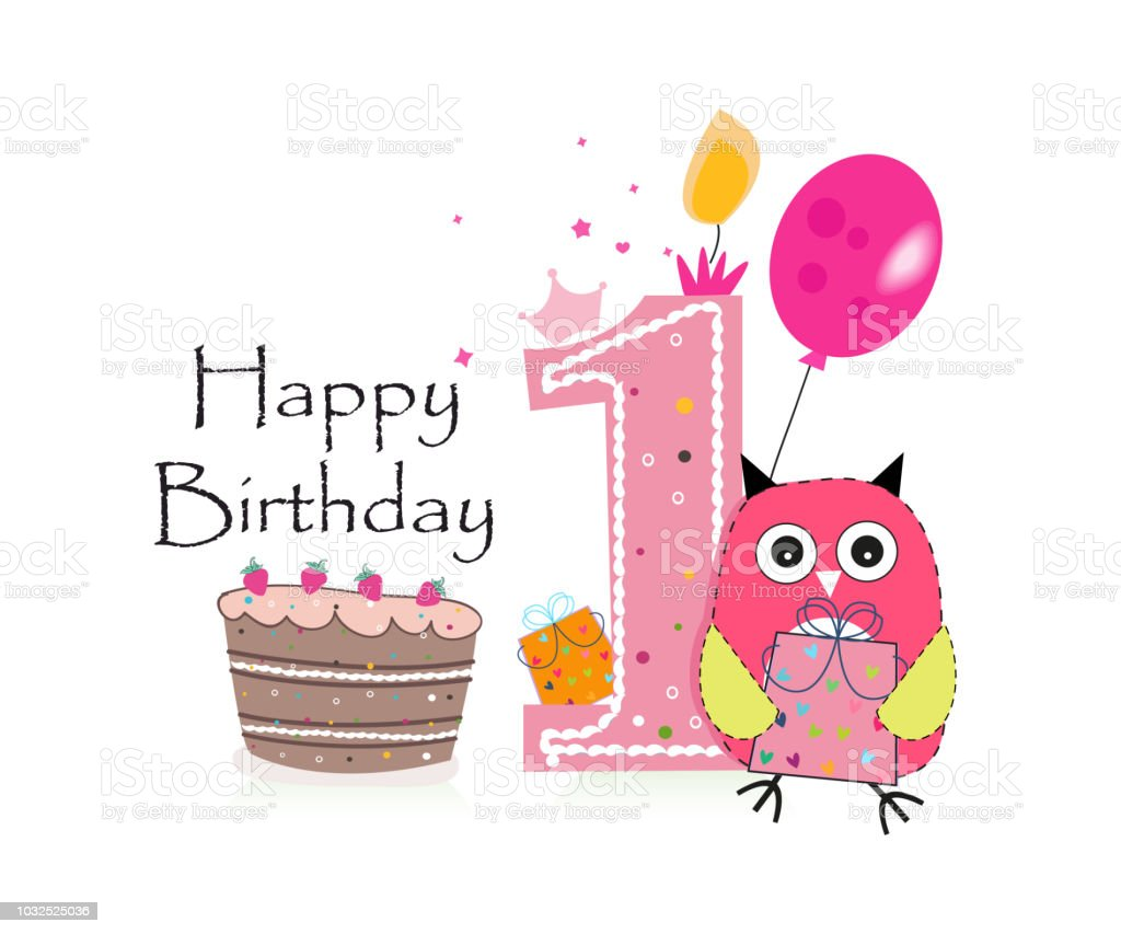 First birthday greeting card cute pink owl balloon and birthday cake first birthday greeting card cute pink owl balloon and birthday cake royalty free m4hsunfo