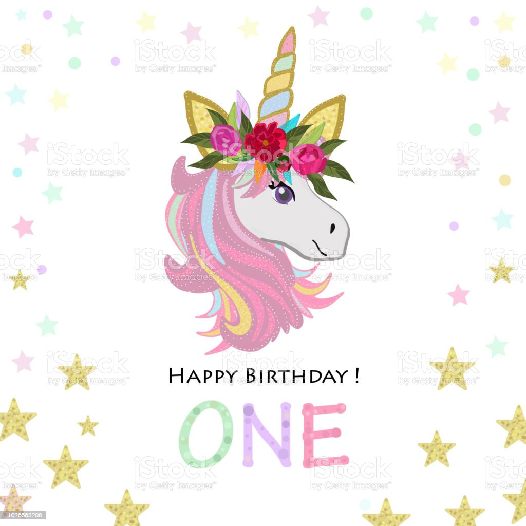 First Birthday Greeting One Text Magical Unicorn Invitation Party Card