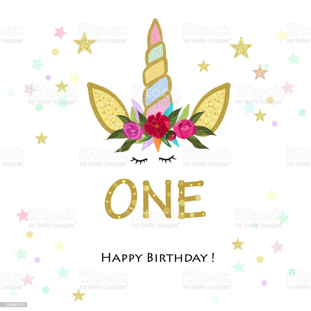 Prime First Birthday Greeting One Unicorn Birthday Invitation Party Funny Birthday Cards Online Inifofree Goldxyz