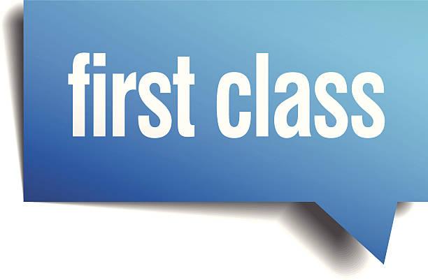 Primera clase azul 3d realista de burbujas de discurso de papel - ilustración de arte vectorial