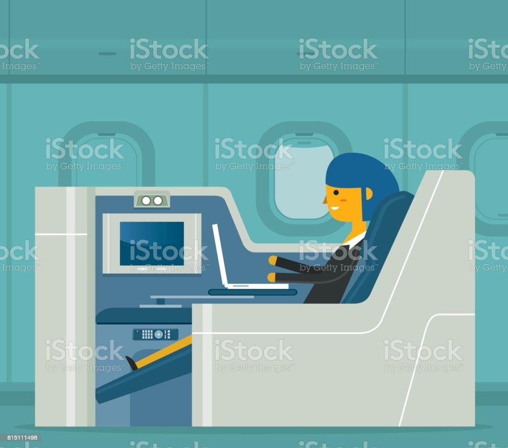 Pasajeros de primera clase - empresaria - ilustración de arte vectorial