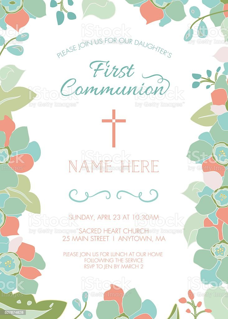 First Communion Baptism Or Christening Invite Template