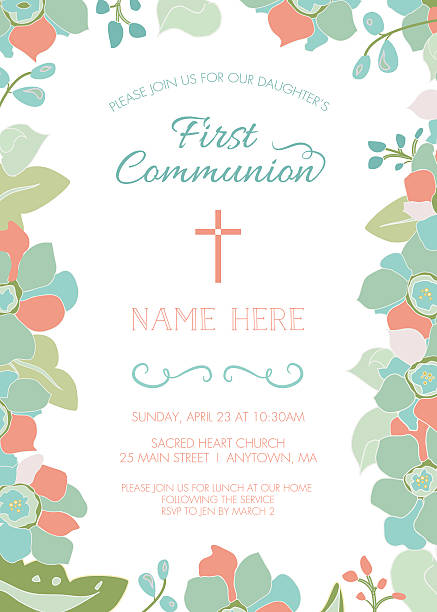 first communion, baptism, or christening invite template, floral frame - communion stock illustrations, clip art, cartoons, & icons