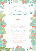 First communion, baptism, or christening invite template, floral frame