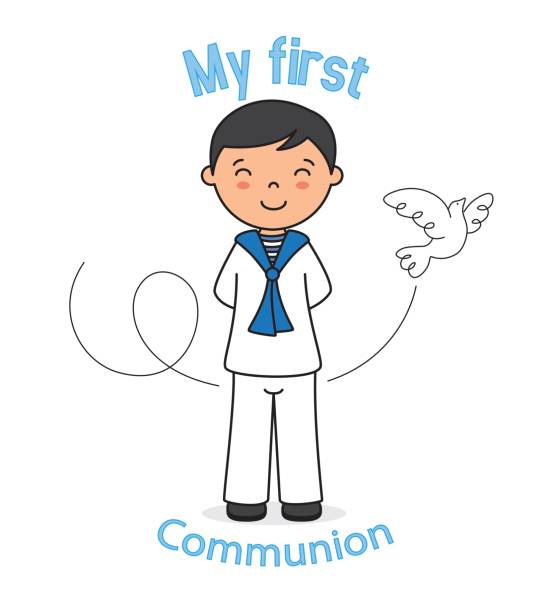 first communion boy - communion stock illustrations, clip art, cartoons, & icons