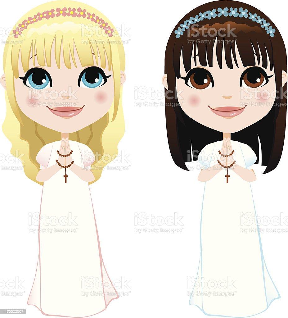 First Communion Girls royalty-free stock vector art