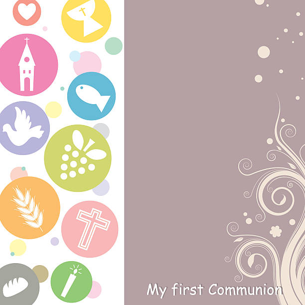 first communion invitation card - communion stock illustrations, clip art, cartoons, & icons