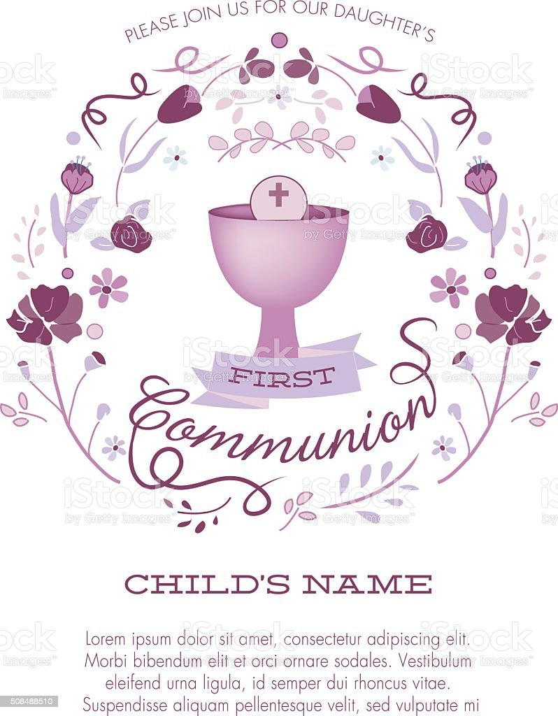 First Communion Invitation Template with Chalice and Abstract Floral Wreath vector art illustration