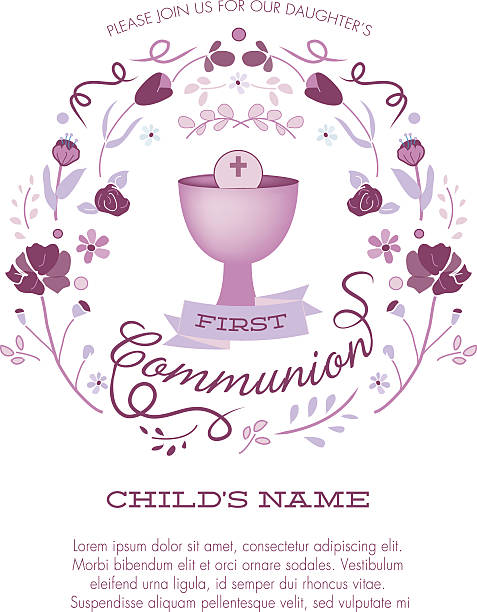 first communion invitation template with chalice and abstract floral wreath - communion stock illustrations, clip art, cartoons, & icons
