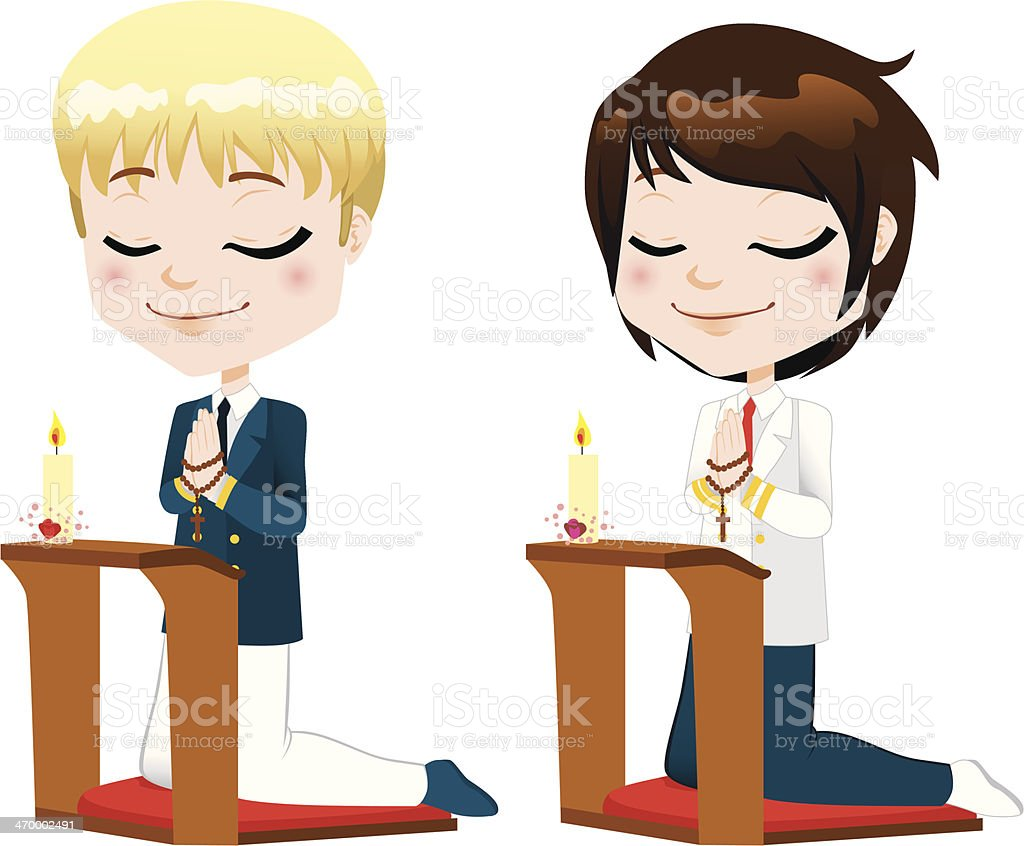 First Communion Prayer Boys royalty-free stock vector art