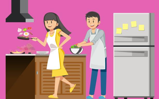 ilustrações de stock, clip art, desenhos animados e ícones de first cooking fun. happiness of love. - kitchen counter
