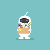 First day at work. Automation. Robots instead of human. Cute white robot holding a box full of office stationery goods / flat editable vector illustration, clip art