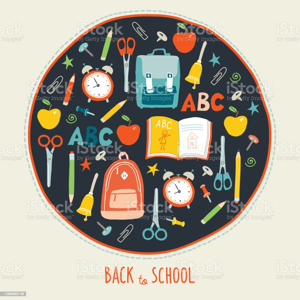 first day of school background back to school card concept poster