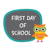 First day of school banner with a cute owl