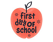 "Creative typography style for ""First Day of School"" quote. Vector design template on isolated white background."