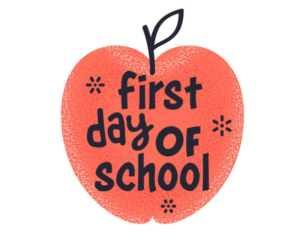 first day of school quote creative vector typography style - przedszkole stock illustrations