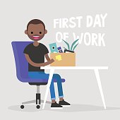 First day of work. Young black character holding a box with a stationery / flat editable vector illustration, clip art