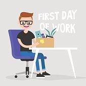 Senior Manager Ersten Tag Der Arbeit Junge Charakter Halt Eine Box Mit Einem Briefpapier Flach Bearbeitet
