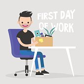 First day of work. Young character holding a box with a stationery / flat editable vector illustration, clip art
