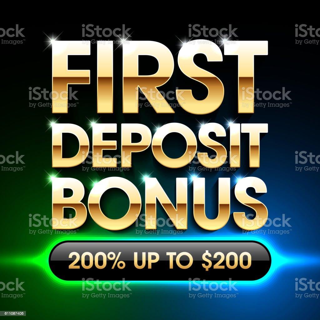 First deposit bonus banner vector art illustration