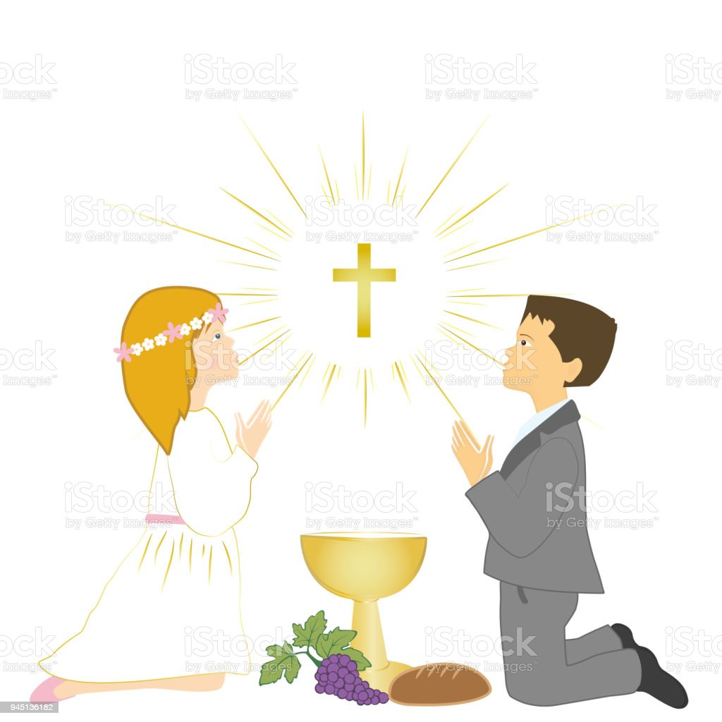 First Holy Communion Ceremony Symbols Children Praying On Knees