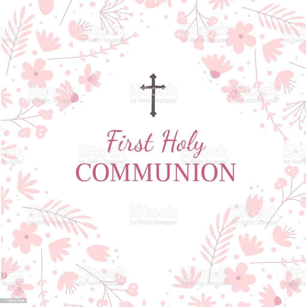 Erste Heilige Kommunion Grußkarte Design Vorlage Stock Vektor Art Within First Communion Banner Templates