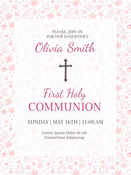 ilustraciones, imágenes clip art, dibujos animados e iconos de stock de primera plantilla de diseño de tarjeta de felicitación de santa comunión - bautizo