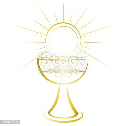 First Holy Communion Symbol Gold Chalice Stock Vector Art More