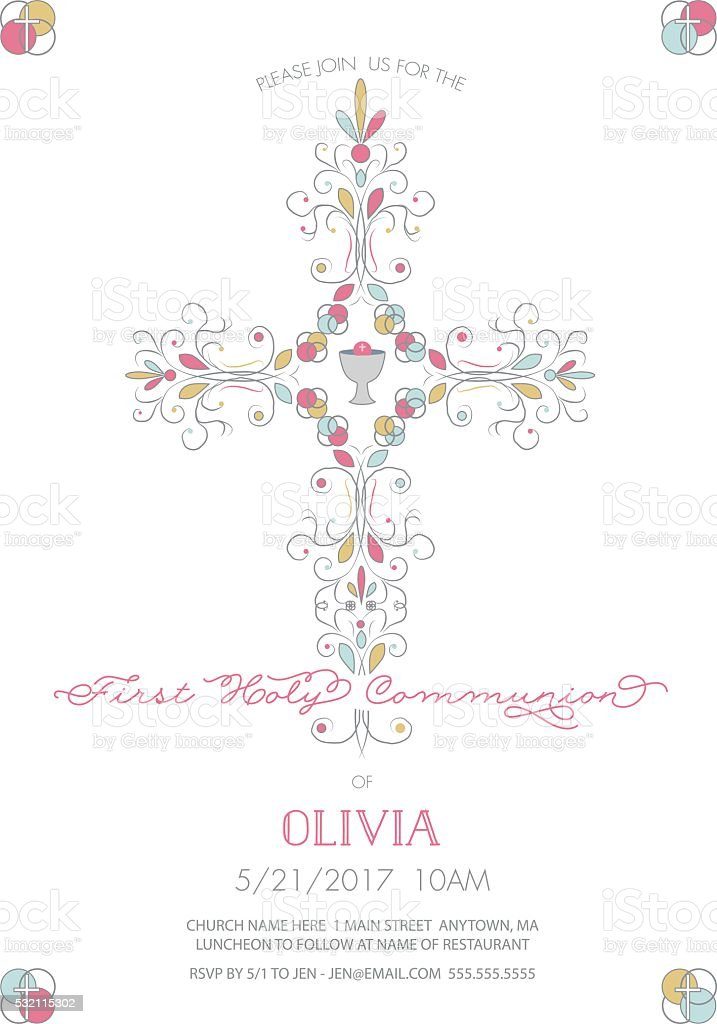 First Holy Communion with Cross Invitation, Card Template vector art illustration
