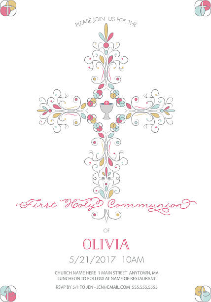 first holy communion with cross invitation, card template - communion stock illustrations, clip art, cartoons, & icons