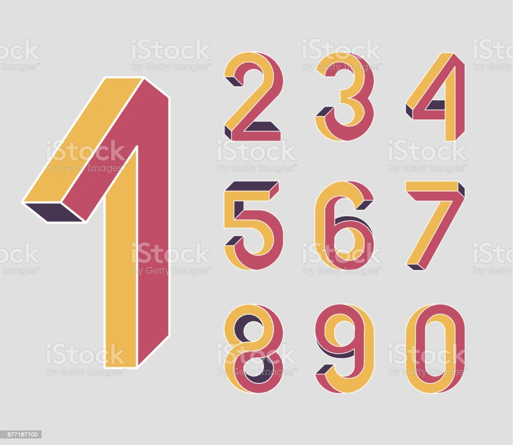 First. Impossible shape numbers. Retro style . Colored numbers in the style of the 80s. Set of vector numbers constructed on the basis of the isometric view. Low poly 3d characters. Vector 10 EPS vector art illustration