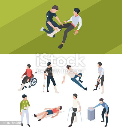 First injury help. Rehabilitation persons broken bones plastering arms and legs after accident medical isometric injury people. Emergency accident, help and care illustration