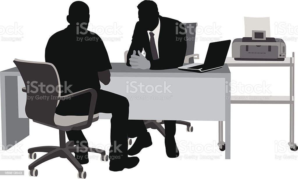 First Interview Vector Silhouette royalty-free stock vector art