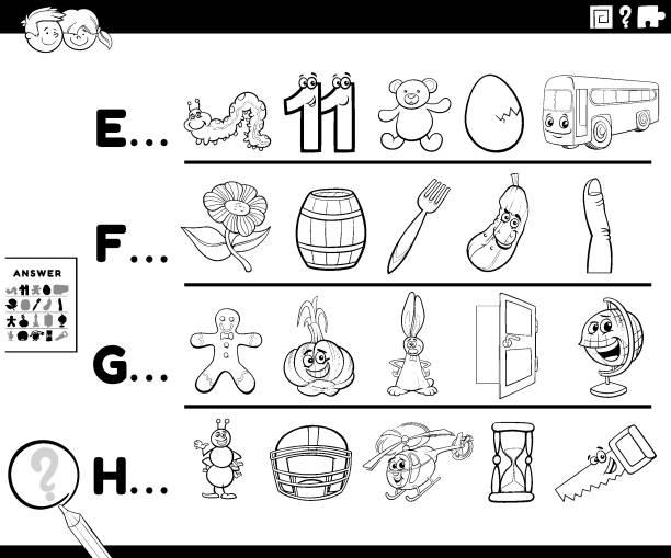 illustrations, cliparts, dessins animés et icônes de première lettre d'une activité de mot pour la page de livre de couleur d'enfants - enseignant(e) en maternelle
