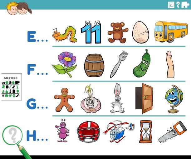illustrations, cliparts, dessins animés et icônes de première lettre d'une activité éducative mot pour les enfants - enseignant(e) en maternelle