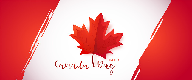 First of July, Canada Day. Long greeting banner with red maple leaf for Canada day celebration. Canadian flag, vector illustration.