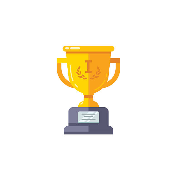 First Place Golden Cup Championship Prize Vector Art Illustration