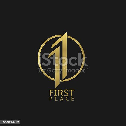 First place label. Golden Number one logo emblem
