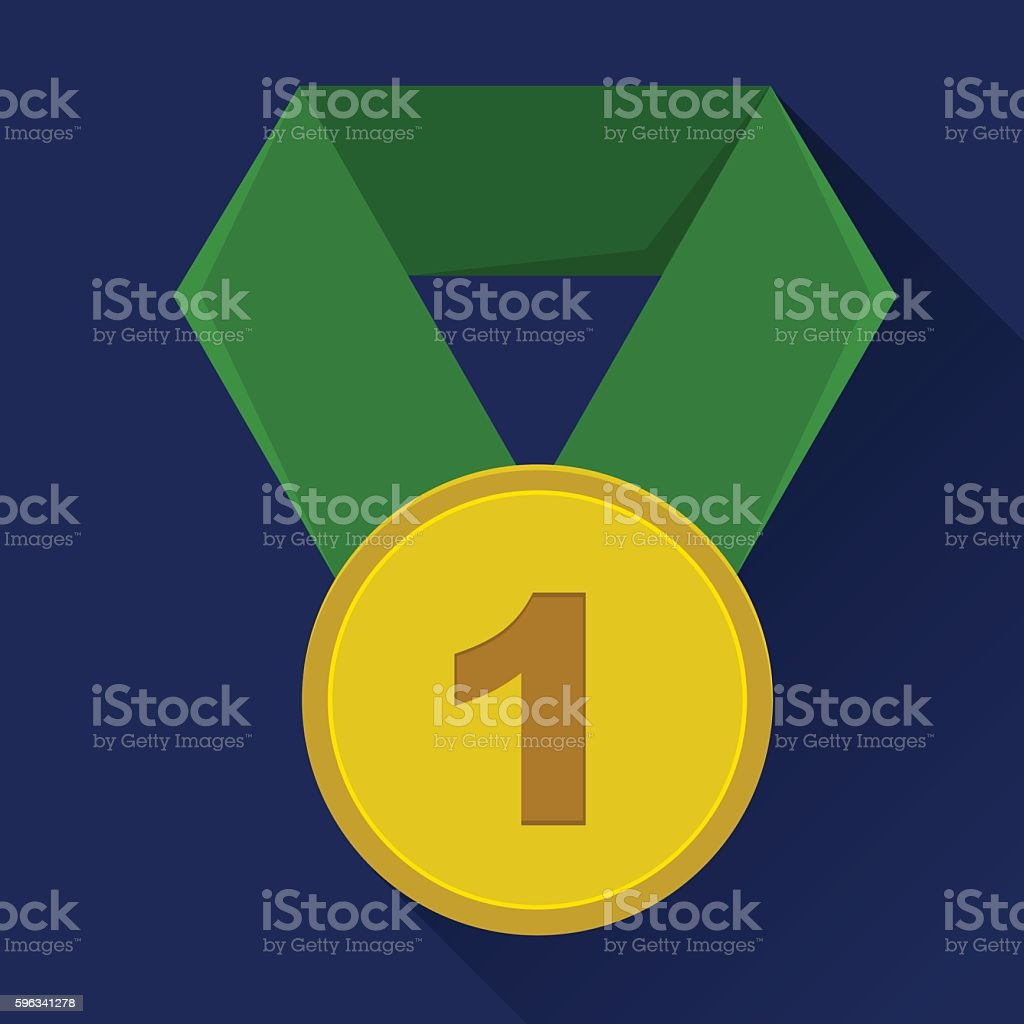 First place medal icon. Green ribbon. Blue background. Flat style royalty-free first place medal icon green ribbon blue background flat style stock vector art & more images of abstract