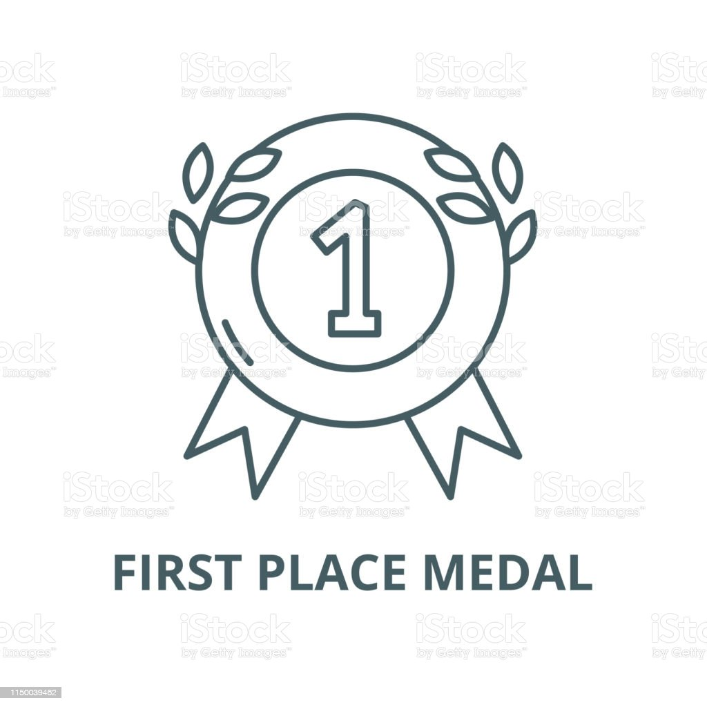 First Place Medal Vector Line Icon Outline Concept Linear