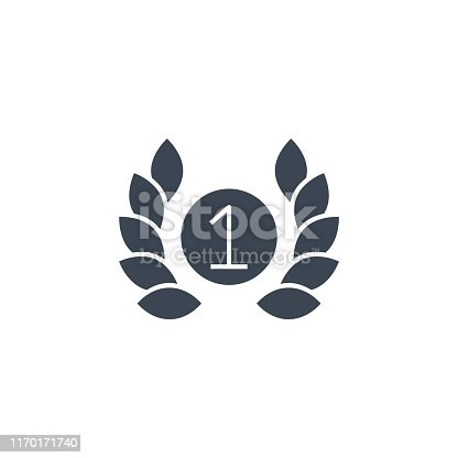 First Place related vector glyph icon. Isolated on white background. Vector illustration.