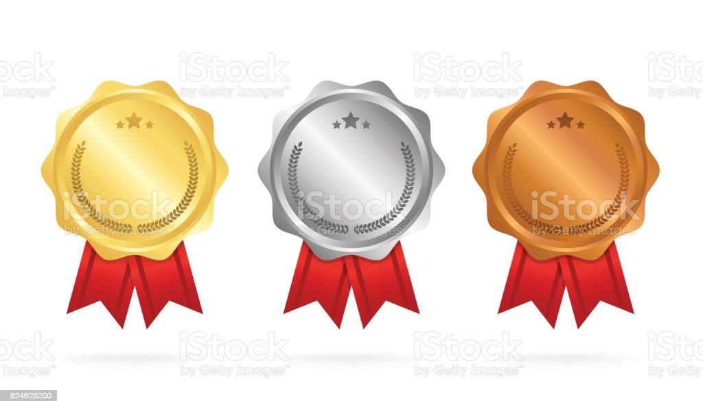 First place. Second place. Third place. Award Medals Set isolated on white with ribbons and stars. Vector illustration vector art illustration