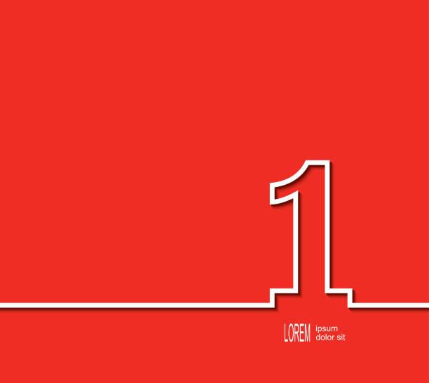 第一位置符號。紅色背景上的白色數位。 - 一個物體 幅插畫檔、美工圖案、卡通及圖標